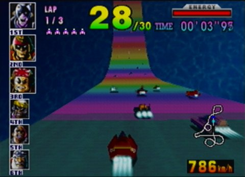 Rainbow Road track (originally from Mario Kart 64) in F-Zero X