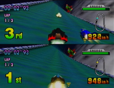 "A two-player race on the track ""Silence"" in F-Zero X for N64"