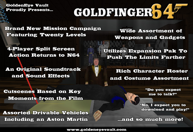 A promo screenshot of Goldfinger 64, listing all its features