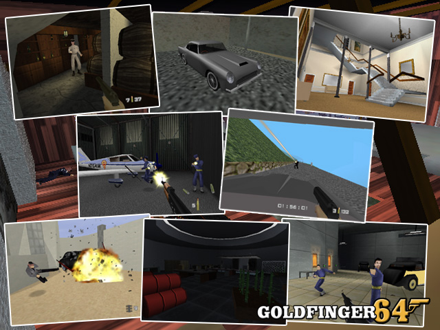 A selection of screenshots of Goldfinger 64