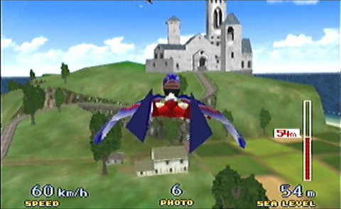 Using the Birdman costume to flying around Holiday Island in Pilotwings 64