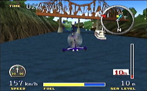 Flying the Gyrocopter under a bridge in Pilotwings 64