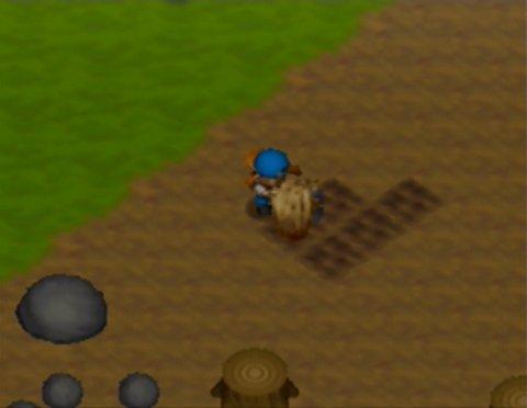 Tilling soil in Harvest Moon 64