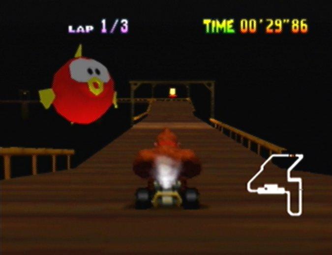 Banshee Boardwalk giant Cheep Cheep in Mario Kart 64