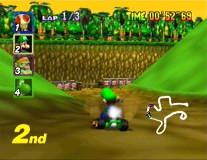 DK's Jungle Parkway track in Mario Kart 64
