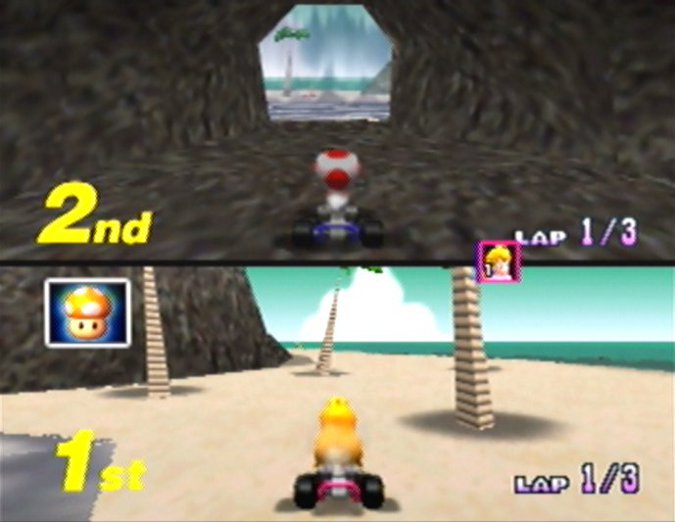 Koopa Troopa Beach waterfall shortcut in Mario Kart 64