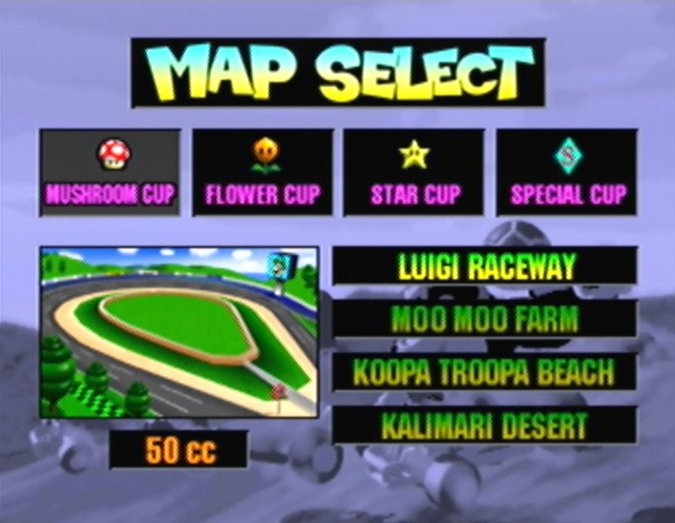 Mario Kart 64 tracks - map select screen