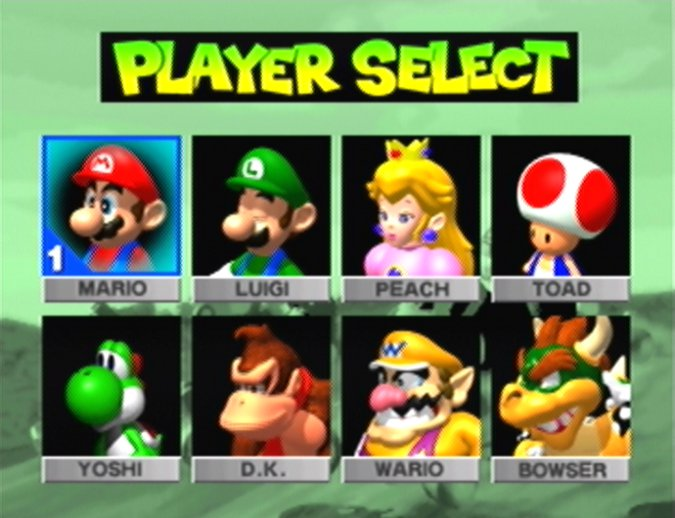 Mario Kart 64's character select screen