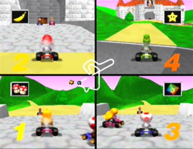 Princess Peach's Castle, as seen in the Mario Kart 64 track Royal Raceway