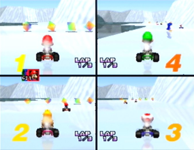 A four-player race on Sherbet Land in Mario Kart 64