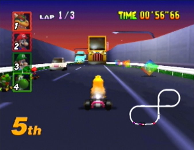 Toad's Turnpike (mirror mode) from Mario Kart 64