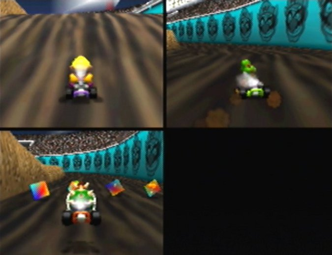 A three-player race on Wario Stadium, one of 16 Mario Kart 64 tracks