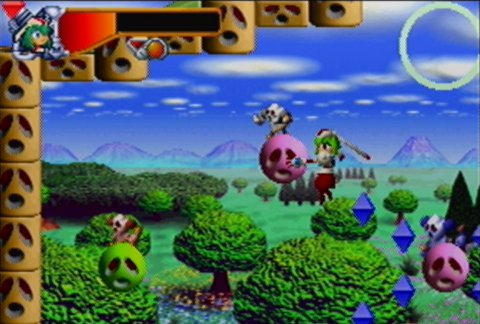 Clanball land stage in Mischief Makers for N64