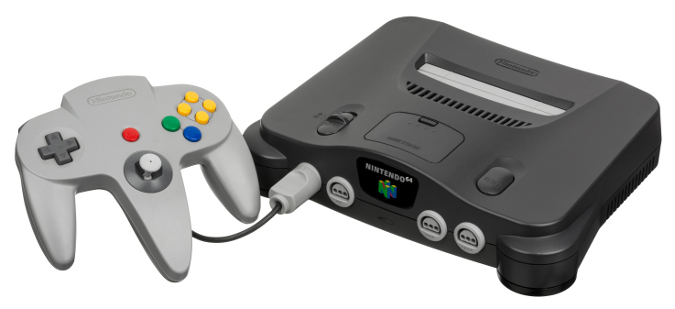 An original black Nintendo 64 console with controller