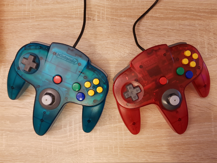 Two N64 controllers on a table during an N64 coop games session