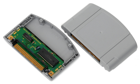 An opened N64 cartridge, revealing the internal circuit board