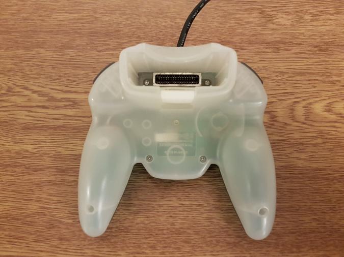 The underside of an N64 Hori Mini Pad