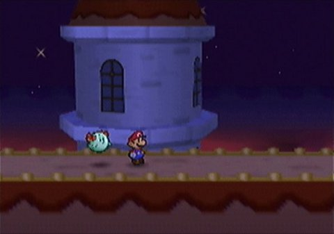 Paper Mario with Lady Boo in Paper Mario 64