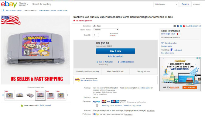 An eBay listing for a Super Smash Bros. (N64) repro cartridge being sold as authentic