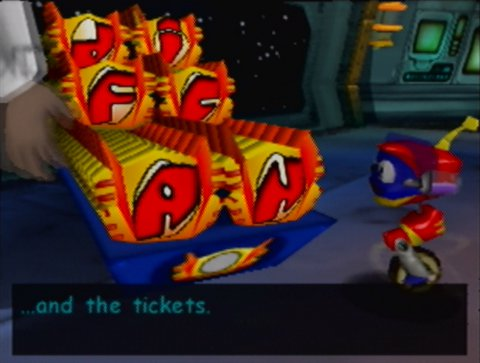 Rocket, looking at all the game's collectable tickets in Rocket: Robot on Wheels for N64