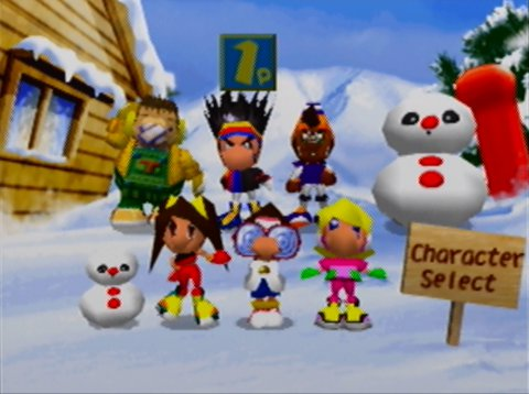 Snowboard Kids 2's character select screen