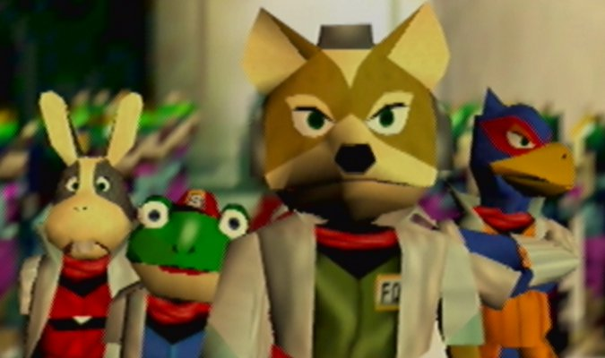 Fox McCloud and the Star Fox team in Star Fox 64 for Nintendo 64