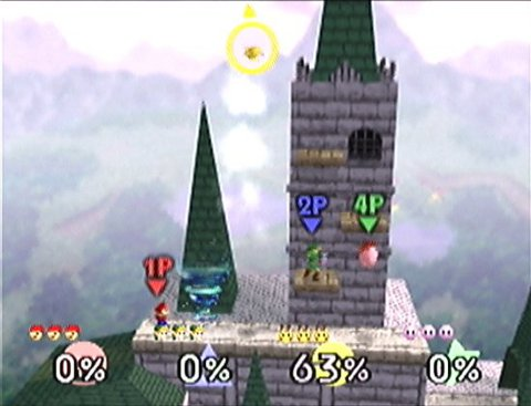 A four-player stock battle in Super Smash Bros. N64