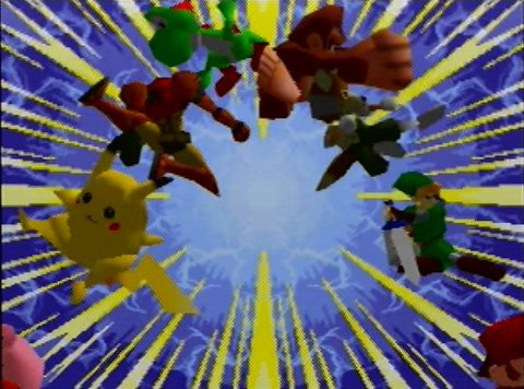Character roll from the cinematic intro for Super Smash Bros. for Nintendo 64