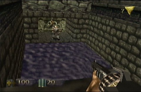 Battling one of the Campaigner's soldier's in Turok: Dinosaur Hunter