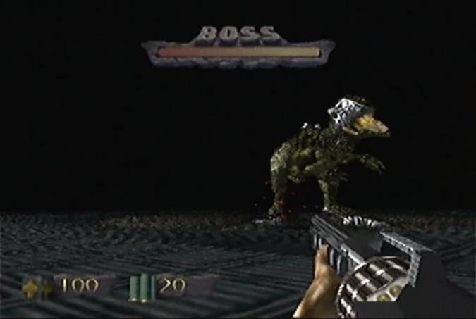 T-Rex battle in Turok: Dinosaur Hunter for N64