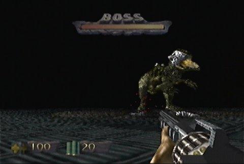 Fighting the T-Rex boss in Turok: Dinosaur Hunter
