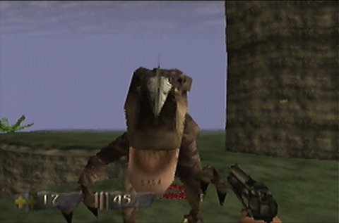 Raptor attack in Turok: Dinosaur Hunter for N64