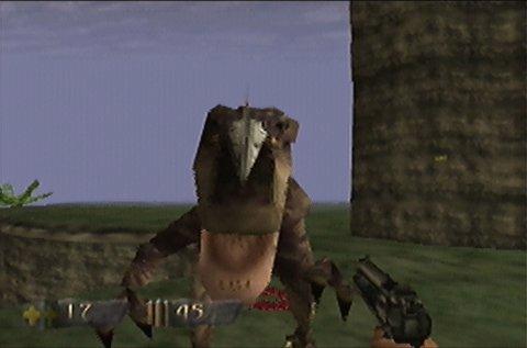 Raptor attack in Turok: Dinosaur Hunter for N64