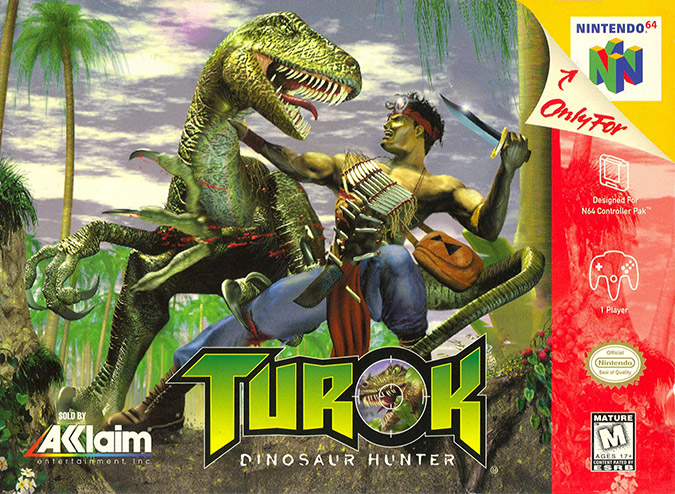 Turok: Dinosaur Hunter box art (NTSC)