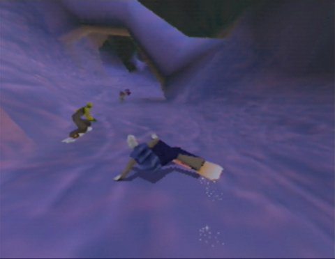 Racing through a tunnel in Twisted Edge Extreme Snowboarding for the Nintendo 64