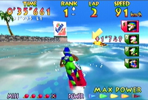 Racing around the Southern Island track in Wave Race 64