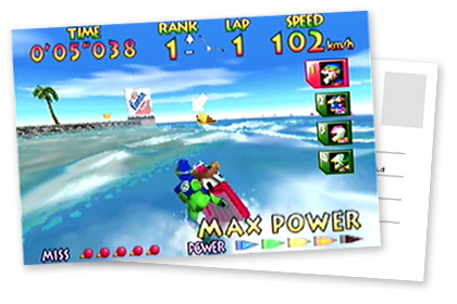 A mocked-up postcard showing the Southern Island track from Wave Race 64