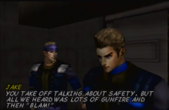 Jean-Luc Cougar talks with his team mate Jake in a cutscene from WinBack: Covert Operations for N64