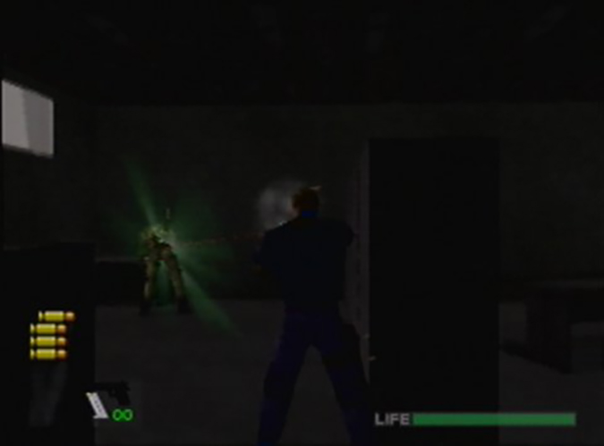 Leaning out of cover and gunning down an enemy in WinBack: Covert Operations for N64