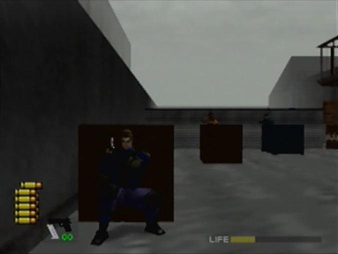 Taking cover behind a crate in WinBack: Covert Operations for the N64