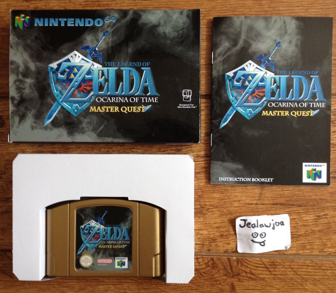 An N64 reproduction cart with custom box and instruction manual of the previously unreleased Legend of Zelda: Ocarina of Time - Master Quest