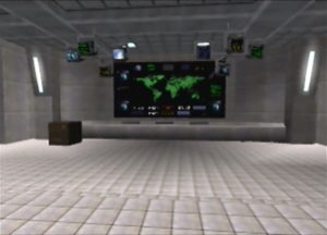 The GoldenEye screen in GoldenEye 007's Bunker level (Nintendo 64)