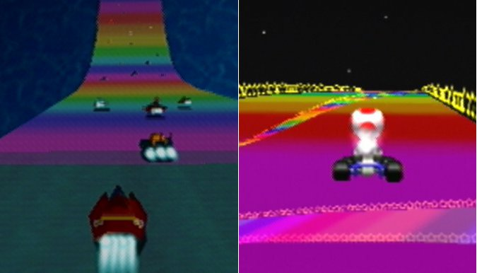 Rainbow Road in F-Zero X and Mario Kart 64