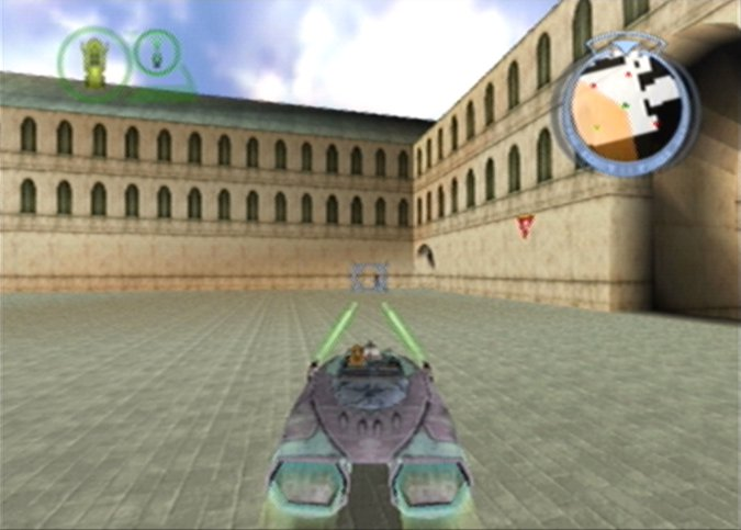Shooting at a Destroyer Droid/Droideka using a Gian Speeder in Star Wars Episode 1: Battle for Naboo (N64)