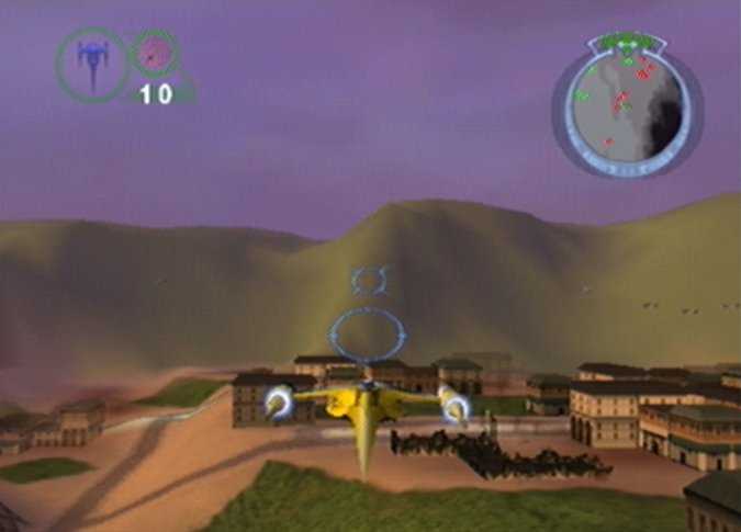 Flying a Naboo Starfighter in Star Wars: Episode 1 - Battle for Naboo (N64)