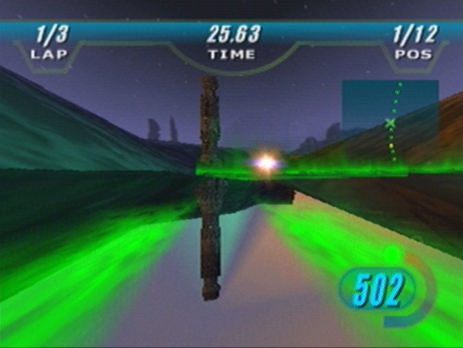 Racing across a gas lake on Malastare in Star Wars Episode 1: Racer for N64