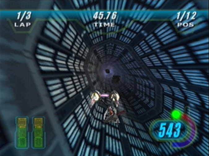 Anti-grav section of one of Star Wars Episode 1: Racer's Oovo IV-based tracks (N64 version)