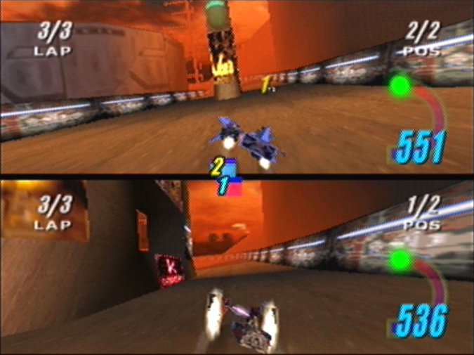 Two-player versus mode in Star Wars Episode 1: Racer for N64