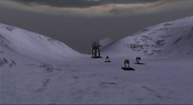 AT-PTs escaping from Fest in Star Wars: Rogue Squadron for N64