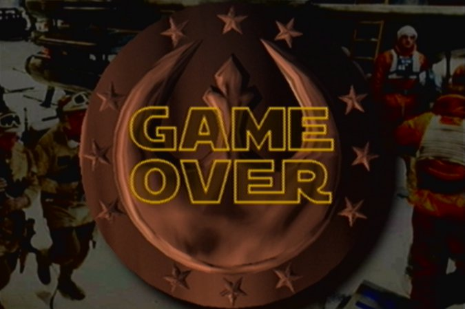 Star Wars: Rogue Squadron's game over screen